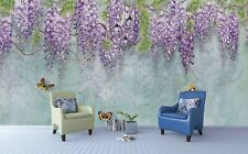3D Purple Floral Butterfly Blue Self-adhesive Removable Wallpaper Murals Wall