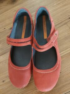 HUSH PUPPIES Red Leather Mary Jane Comfort Shoes , Gorgeous Flat 38 7