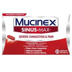 Mucinex Sinus-Max Severe Congestion & Pain Relief Caplets 20 Ct (Pack of 6)