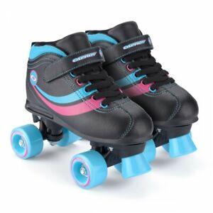 Osprey Disco Roller Skates Girls Retro Quad Boots Black Blue & Pink, Size 4 or 5