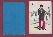 Carte à jouer ancienne XIXe - 301113 - 8 militaria fusil campement