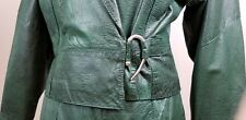 Vintage Leather Jacket, Skirt Set G Iii 1980's Green Animal Print Size M