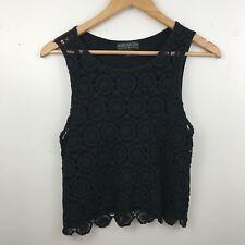 Forever 21 Plus Women's Sleeveless Crop Tank Top Boho Floral Knit Black Size XL