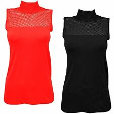 Ladies Sleeveless Mesh Insert Fishnet Polo Neck See Through Casual Vest Tops8-14