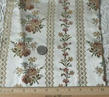 Stunning Antique c1870 French Silk Brocaded Roses Lampas Fabric~L-40'X W-9.5""