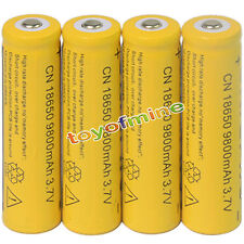 4pcs 18650 3.7V 9800mAh Yellow Li-ion Rechargeable Battery cell For Torch
