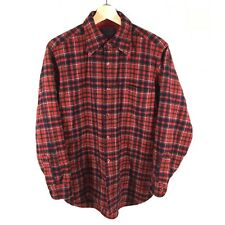 Vintage Pendleton Virgin Wool Button Front Shirt Men's Large L Plaid Red USA