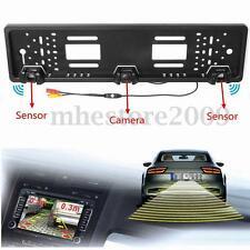 Car Reversing Rear View HD Camera EU License Plate + Parking Sensor Radar Probe