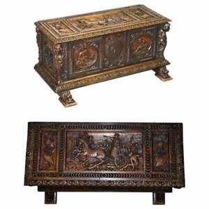 SUBLIME ROMAN CHARIOT ORNATELY HAND CARVED ANTIQUE WALNUT TRUNK CHEST OR COFFER
