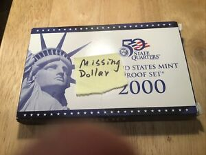 2000 US Proof Set - (Sacajawea dollar missing)