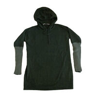 Athleta Nopa Hocahe Hooded Green Merino Wool Sweater Womens XS Hoodie