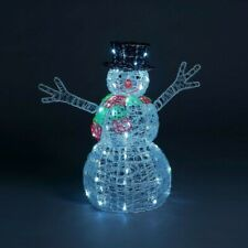 Large 3D Spun Acrylic Snowman Ice White LED Lights Outdoor Christmas Decoration