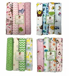 "4pcs Baby Boy Girl Nursing Wrap Flannel Receiving Blanket Pack 32"" x 40"" SET A"