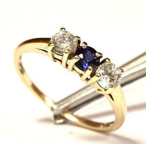 10k yellow gold 3 stone round blue sapphire CZ cubic zirconia gemstone ring 1.8g