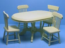 Dollhouse Miniature Kitchen / Dining Room Table with Chairs - Cream T0142-1