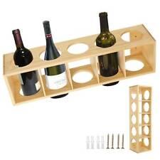 pine Wine Rack Bottle Holder Freestanding Wooden Shelf Wine Rack for 5 Bottles