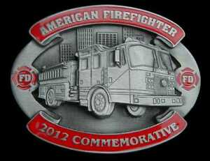 2012 AMERICAN FIREFIGHTER COMMEMORATIVE BELT BUCKLE LIMITED EDITION NEW!