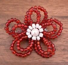 Broach. Only 2 Made  Handmade Wirework Beaded Red