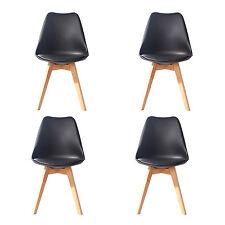 4 X (4X) (X4) BLACK Jamie Dining Chair Wood Retro Designer SOFT PAD FAUX LEATHER