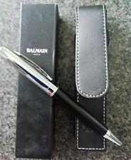 Balmain Paris  Black Ink Pen. Leather Case With Box. New.