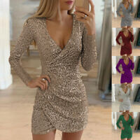 Women's Sequin Glitter Bodycon Dress Evening Party Cocktail Gown Mini Dress