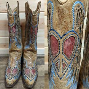 SZ 8M Corral Hearts Angel Wings Women's Western Cowboy Boots