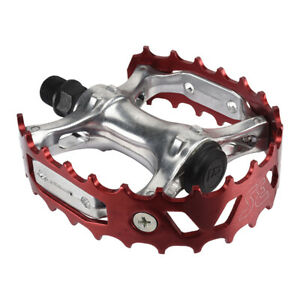 """SE RACING BIKES Beartrap Pedals Alloy 9/16"""" Silver/Red cages"""