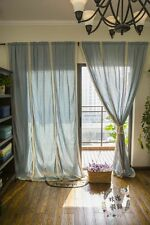 French Country Blue Cotton Linen Crochet Lace Curtain Window Panel Drapes