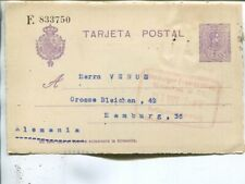 Spain 15cts postal card to Germany 1922, add franking may be removed