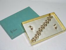 VINTAGE LISNER GOLD TONE BRACELET AND CLIP EARRINGS IN BOX