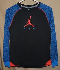 2962bb60bcaf NIKE AIR JORDAN boys Elephant LS Raglan shirt black dk blue large age 12-13