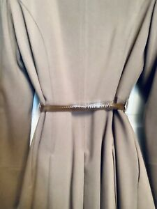 Warehouse Tobacco Brown Fancy Evening Coat With Bow Belt / Size 10 UK Rrp.£90