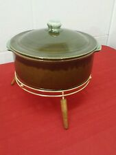 Green Westchester Stoneware Covered Casserole Dish with Candle Warmer/Stand New