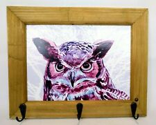 "Wooden Framed Owl Key Holder Hat Rack Wall Mount Farm House Style 12"" W x 9.5"" H"