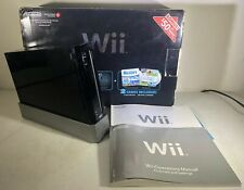 Nintendo Wii RVL-001 Black Console + Original Box, Base, Manuals, Etc - Tested