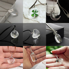 Dried Flowers Dandelion Seeds Glass Ball Heart Wish Moon Clover Pendant Necklace