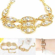 Women's Fashion Ladies Bracelet Gold Noble Burnished Bling Rhinestone Jewelry