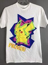 POKEMON Pikachu White Cotton TShirt Size Small
