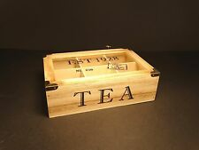Schabby Chic Wooden Rustic Tea Box With Glass Lid And 6 Compartments