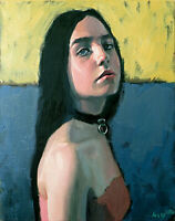 Teen Girl Female Portrait Sensual Vintage Teenage Face Oil Fine Art Painting