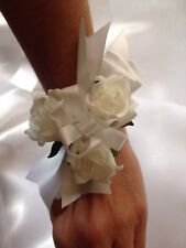 1x White Foam Rose Wedding/ Graduation Bridal Flower Wrist Corsage