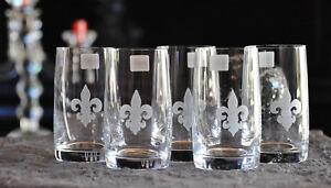 6 schöne Trinkgläser französische Lilie Echt Handgeschliffen