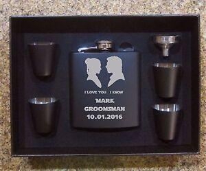 Black Starwars Flask Set for Groomsman Gift Personalized Custom Star Wars NIB