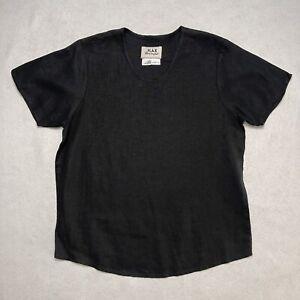 FLAX Jeanne Engelhart Womens Short Sleeve Black Linen Top Shirt Size Petite