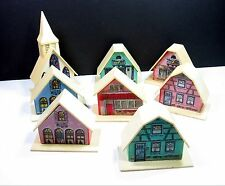 Alpine Village CHRISTMAS LIGHT COVERS Vintage Plastic Houses Church Set of 8