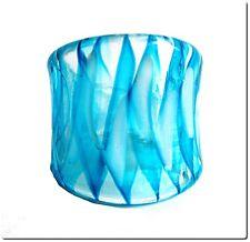 Bague en verre style murano tranlucide bleue T57 mode bijou été lampwork ring