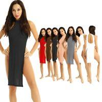 Women Sexy Pure Lingerie See Through Cheongsam Nightgown High Slit Long Dress