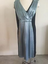 LANVIN Hiver 2006 Steel Blue & Black Silk Pleated Panel Cocktail Dress 38