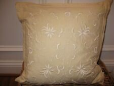 Ralph Lauren SHETLAND MANOR Embroidery Ivory Deco Pillow NWT