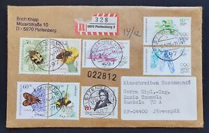 Insect Cover 1984 from Germany to Finland Registered - Olympic Games Stamps